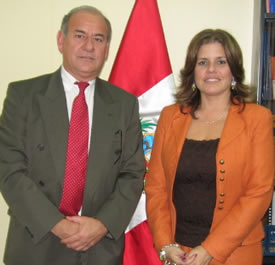Roger Huaman and Minister of Tourism, Mercedez Araos